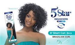 "5 STAR INDIAN REMI WET & WAVY-8""Short Cut - Brazilian Curl"