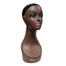 HAIR MOTION DISPLY LONG NECK MANNEQUIN-CHOCOLATE